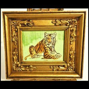 """Hand Painted Tiger in Fancy Gold Wood Frame 6-1/2"""""""